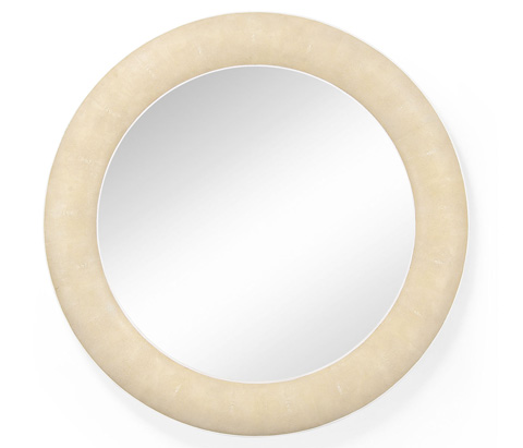 Jonathan Charles - Round Wall Mirror with Faux Shagreen - 494250