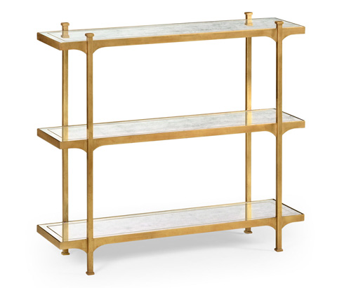 Jonathan Charles - Eglomise and Gilded Iron Three-Tier Etagere - 494321-G