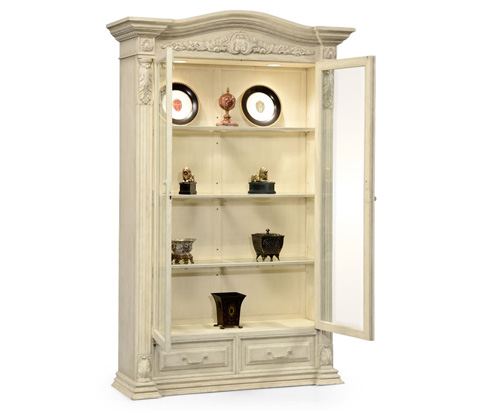 Jonathan Charles - French Provincial Grey Painted Glazed Armoire - 494334
