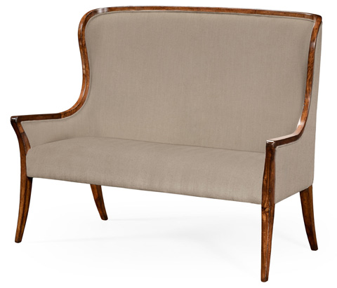 Image of High Curved Back Upholstered Settee