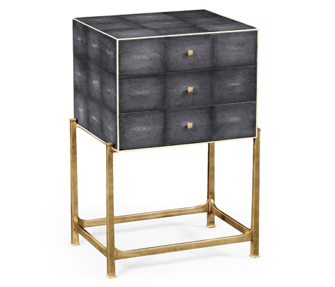 Jonathan Charles - Faux Anthracite Shagreen High Chest - 494380-G