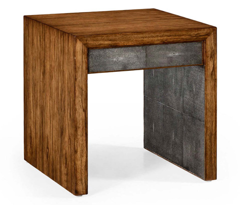 Jonathan Charles - Anthracite Faux Shagreen Side Table - 494394