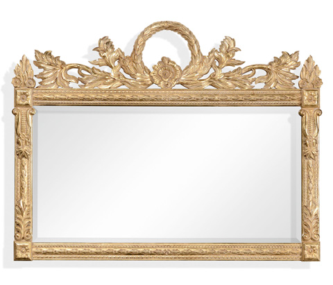 Jonathan Charles - Empire Style Overmantle Mirror Circular Wreath - 494449