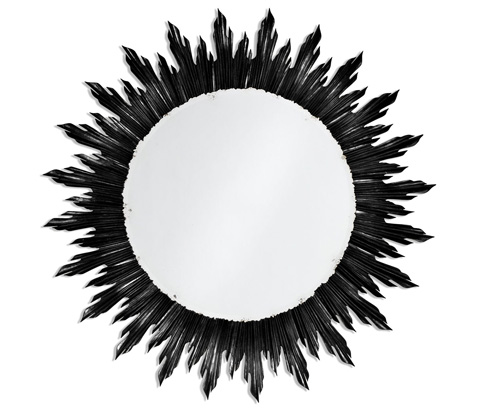 Jonathan Charles - Large Black Sunburst Mirror - 494469-BLA