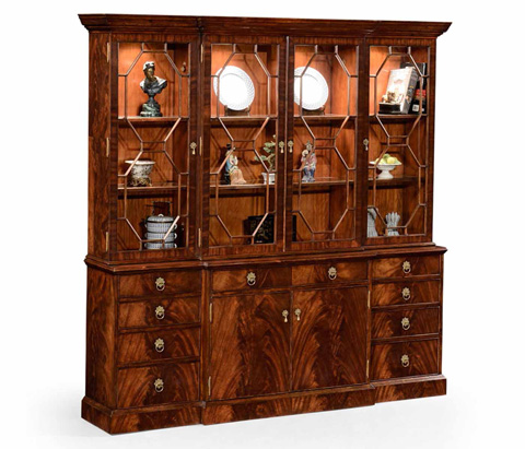 Image of Mahogany Triple Bookcase with Glazing Bars