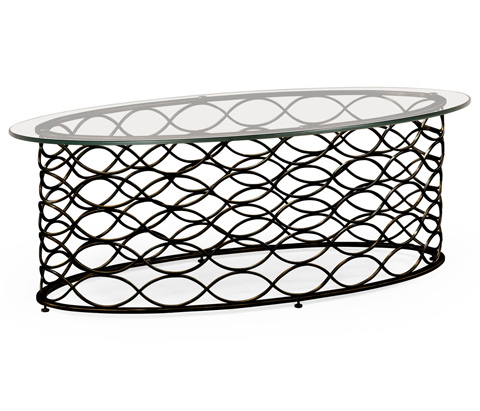 Jonathan Charles - Interlaced Bronze and Glass Oval Coffee Table - 494577-B