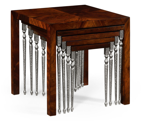 Jonathan Charles - Hammered Iron Coloured Five Nest of Tables - 494787