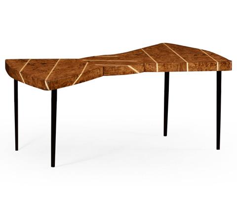 Jonathan Charles - Burl Oak Bowtie Coffee Table - 494796