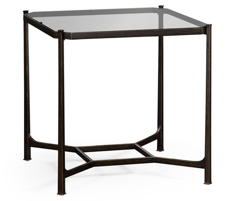 Jonathan Charles - Patinated Bronze Finish Square Side Table - 494921-B