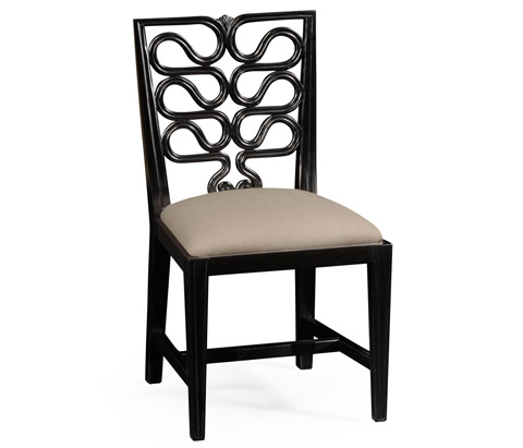 Jonathan Charles - Black Painted Open Back Dining Side Chair - 494939
