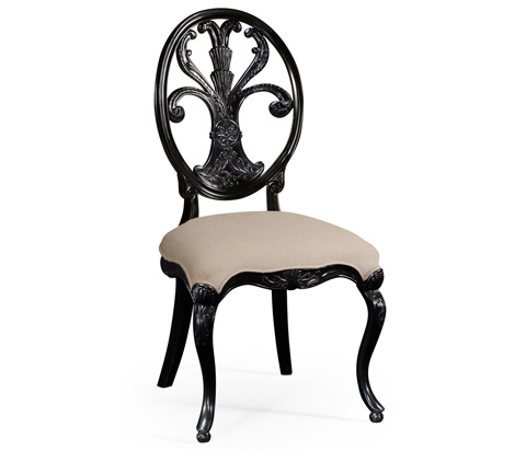 Jonathan Charles - Black Painted Sheraton Style Oval Back Side Chair - 494941