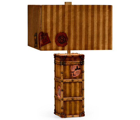 Jonathan Charles - Striped Travel Trunk Style Table Lamp - 494971