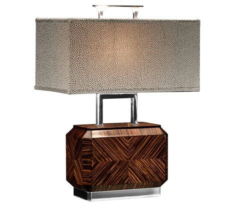 Jonathan Charles - Tea Caddy Faux Macassar Table Lamp - 494987-MAS