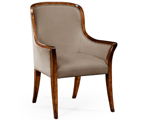 Jonathan Charles - Low Curved Back Upholstered Dining Arm Chair - 494995