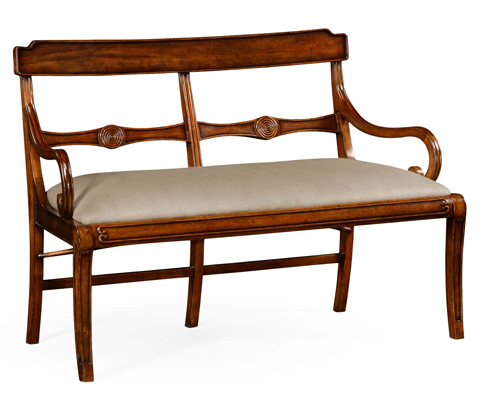 Jonathan Charles - Regency Walnut Bench with Scrolling Arms - 495009