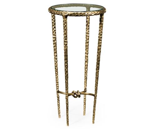 Jonathan Charles - Brass Hammered Iron Circular Wine Table - 495025-BRA