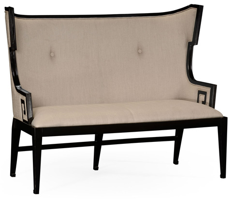 Image of Greek Key Design Black Upholstered Sette