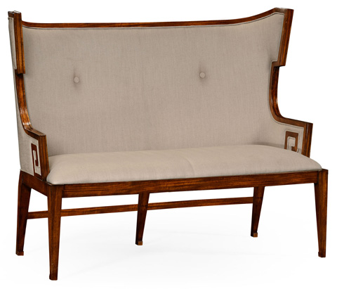 Image of Greek Key Design Walnut Upholstered Sette
