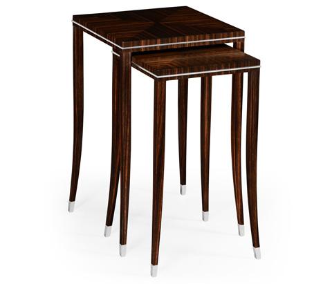 Jonathan Charles - Soho Nesting Table with White Brass Detail - 495160