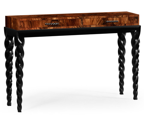 Jonathan Charles - Twisted Leg Black Painted Console with Drawers - 495191-BLA