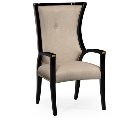 Jonathan Charles - Painted Black Cosmo Dining Arm Chair - 495195-BLA-AC