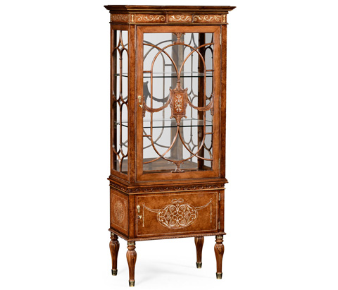 Jonathan Charles - Burl and Mother of Pearl Display Cabinet - 499320