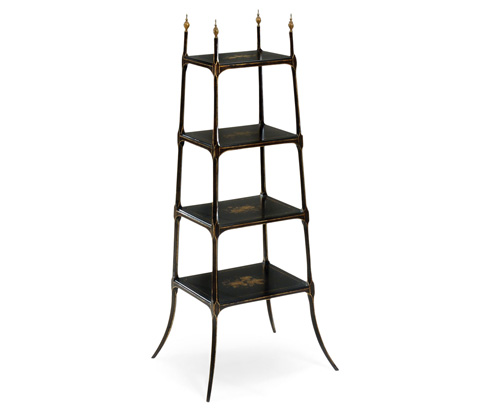 Image of Regency Style Black Four-Tier Etagere