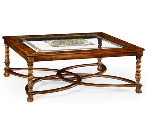 Image of Square Oyster and Églomisé Coffee Table