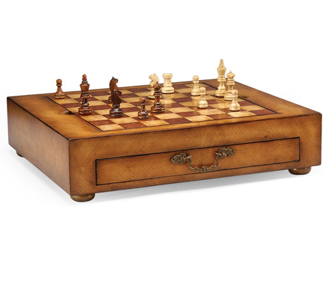 Image of Satinwood Games Box with Drawer
