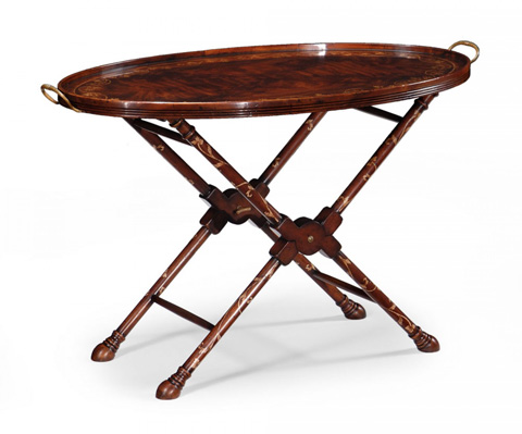 Image of Oval Tray On Stand With Floral Inlay