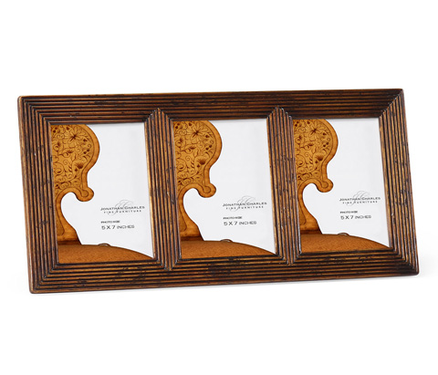 Image of Triple Walnut Ribbed Picture Frame