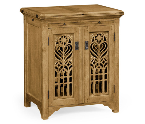 Image of Natural Oak Gothic Wine Cabinet