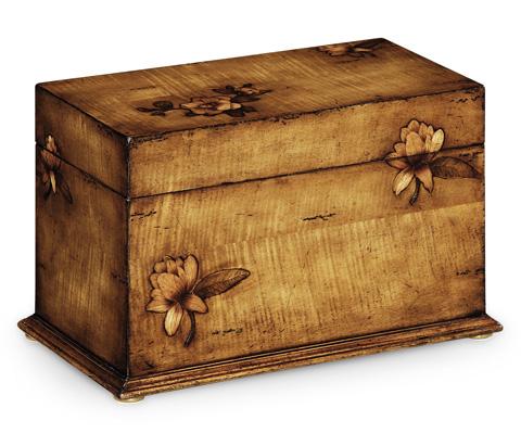 Jonathan Charles - Walnut Raised Floral Rectangular Box - 493546