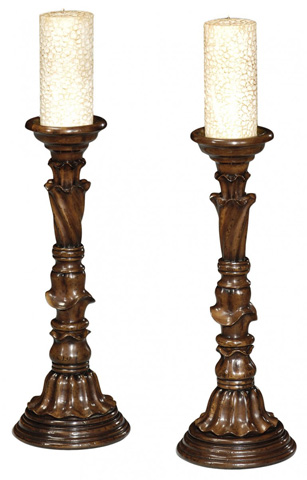 Jonathan Charles - Pair Of Rococo Style Walnut Candlesticks - 493732