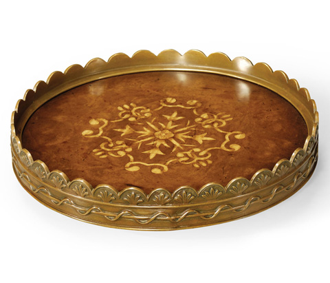 Image of Circular Seaweed Marquetry Tray
