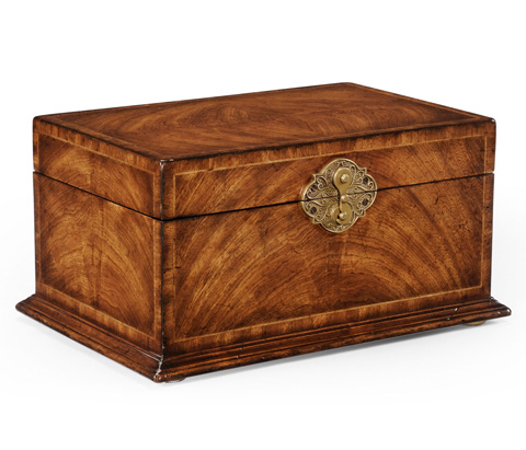 Jonathan Charles - Crotch Walnut Rectangular Jewellery Box - 493846