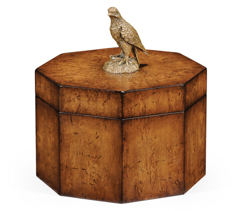 Image of Walnut Octagonal Box With Bird Finial