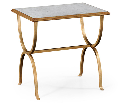 Image of Gilded Iron Rectangular Side Table