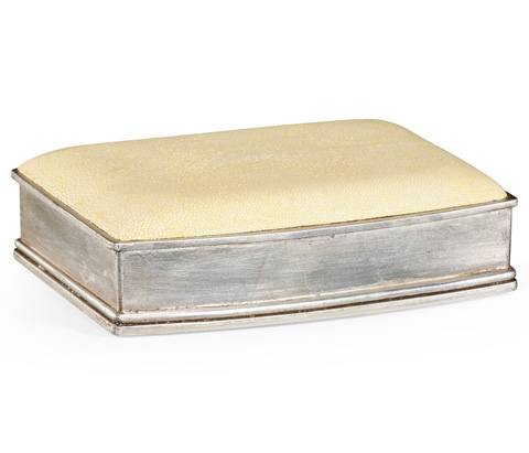 Jonathan Charles - Faux Shagreen Silvered Box - 494114-S
