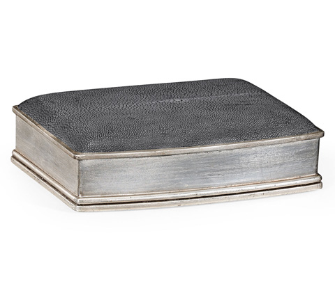 Jonathan Charles - Anthracite Faux Shagreen Silvered Box - 494115-S