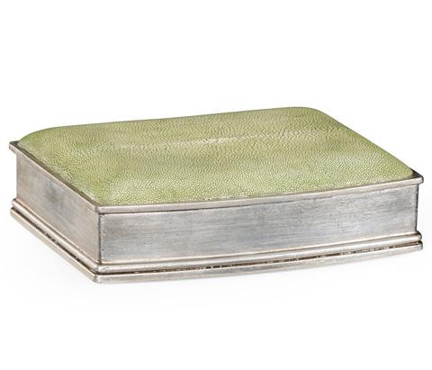 Jonathan Charles - Green Faux Shagreen Silvered Box - 494116-S