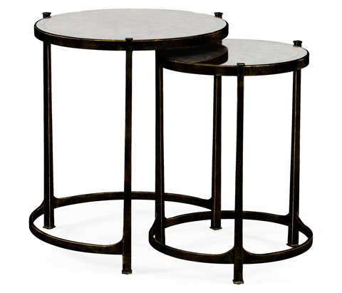Jonathan Charles - Bronze Iron Round Nest Of Two Tables - 494141-B