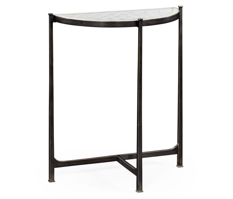 Image of Bronze Iron Demilune Console