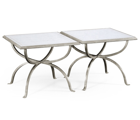 Jonathan Charles - Silver Iron Set Two Tables - 494188-S