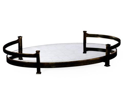 Jonathan Charles - Bronze Iron Oval Tray - 494200-B