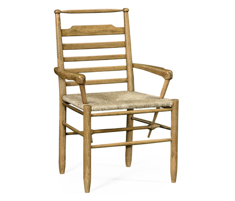 Image of Natural Oak Ladder Back Country Arm Chair