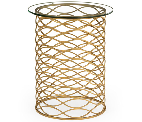 Jonathan Charles - Interlaced Gilded and Glass Side Table - 494247-G