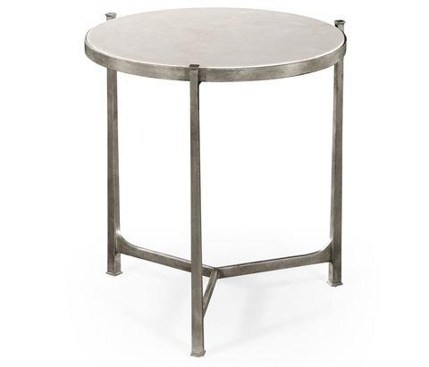 Jonathan Charles - Scagliola and Silver Round Side Table - 494252-S