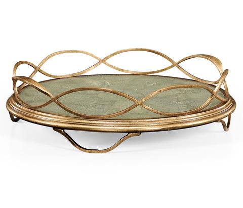 Jonathan Charles - Green Faux Shagreen and Gilded Iron Circular Tray - 494270-G