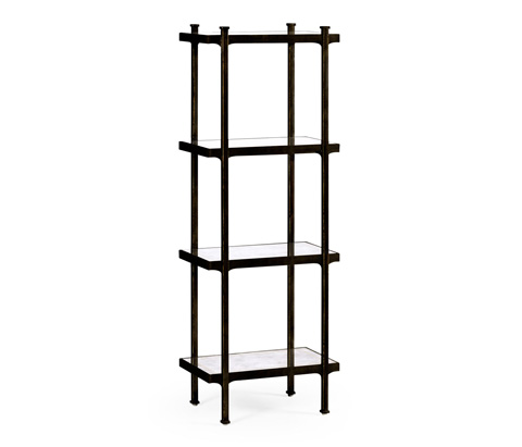 Jonathan Charles - Bronze Iron Narrow Four-Tier Etagere - 494329-B